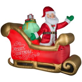 Airblown Inflatable Deluxe Fabric Santa Sleigh