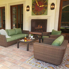 Royal Garden Monaco 4-Piece Outdoor Wicker Conversation Set