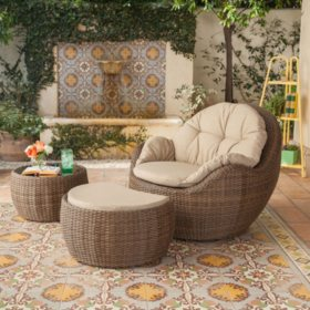 Royal Garden Kenton 3-Piece Wicker Outdoor Seating Set with Ottoman