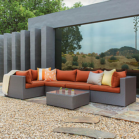 Royal Garden Concord 6-Piece Outdoor Sectional Wicker Cushion Seating Set