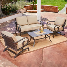 Royal Garden Monte Carlo 4 Piece Patio Conversation Seating Set (Various Colors)