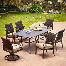 Royal Garden Monte Carlo 7-Piece Patio Dining Set with Two Swivel Dining Chairs (Various Colors)