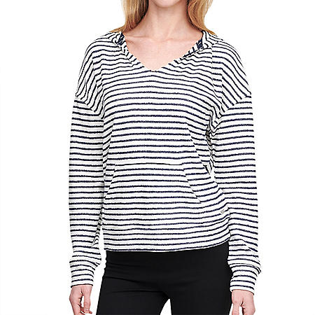 Marc NY Long Sleeve Split Neck Beach Hoodie