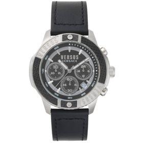 Versus Versace Men's Chronograph Admiralty Black Leather Strap Watch, 44mm