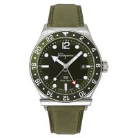 Ferragamo Men's 1898 Sport Green Leather Strap Watch, 44mm