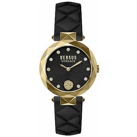 Versus Versace Women's Covent Garden Black Leather Strap Watch, 36mm