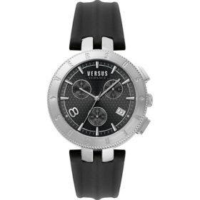 Versus Versace Men's Logo Gent Chrono Black Leather Strap Watch, 44mm