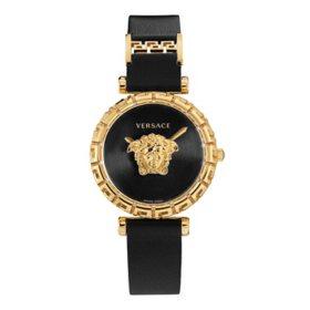 Versace Women's Palazzo Empire Greca Black Leather Strap Watch, 37mm