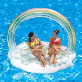 Summer Waves Glitter Sparkles Mermaid Island Inflatable Pool Float