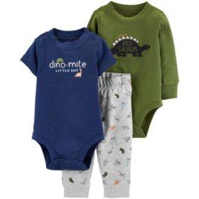 Carter's 3-Piece Green Dino Bodysuit Pant Set