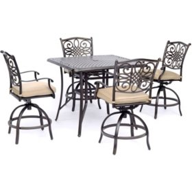 "Hanover Traditions 5-Piece High-Dining Set with 42"" Square Cast-top Table (Tan)"
