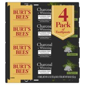 Burt's Bees Toothpaste, Fluoride Free, Charcoal, Zen Peppermint (4.7 oz., 4 pk.)