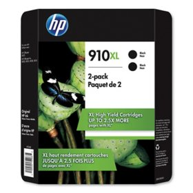 HP 910XL, High Yield Black Original Ink Cartridge, 2 Pack