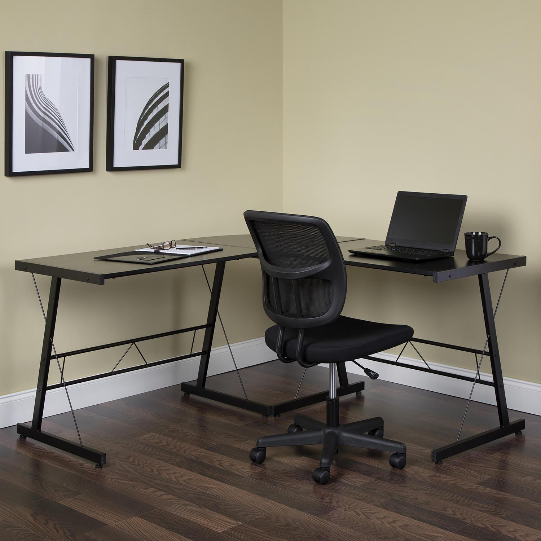 OFM Essentials Collection 60″ Metal Frame L-Shaped Corner Computer Desk