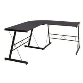 "OFM Essentials Collection 60"" Metal Frame L-Shaped Corner Computer Desk, Black"