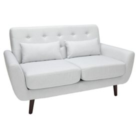 OFM 161 Collection Mid-Century Modern Tufted Fabric Loveseat with Lumbar Support Pillows, Assorted Colors
