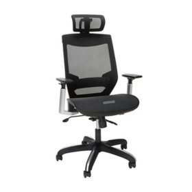OFM Full Mesh Office Chair with Headrest, Lumbar Support, Black (525-BLK)