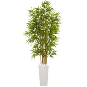 6' Artificial Bamboo Tree in Tall White Planter