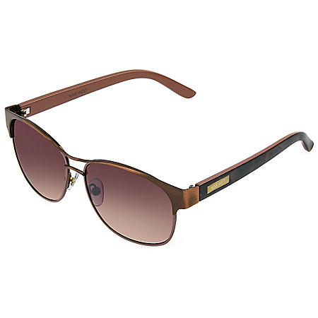Nine West Rose Gold Wayfarer-Style Sunglasses with Accessories