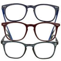 OPTIQUE Trifecta Square Reading Glasses (3 pack)