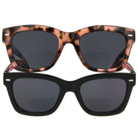 OPTIQUE Trifecta Square Sunglass Readers with Case (2 pack)