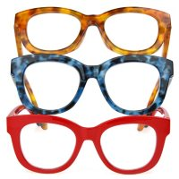 OPTIQUE Limited Collection Cat Eye Reading Glasses with Chain and Cloth (3 pk.)