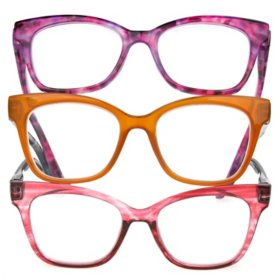 OPTIQUE Limited Collection Butterfly Reading Glasses with Chain and Cloth (3 pack)