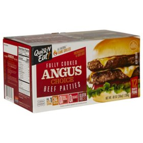Quick 'N Eat Fully Cooked Angus Choice Beef Patties (3 lbs.)