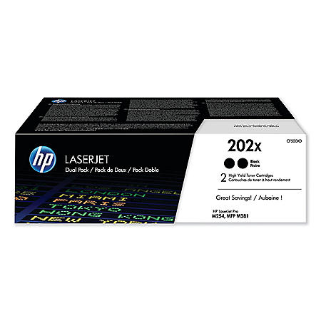 HP 202X, 2-Pack High Yield Black Original LaserJet Toner Cartridge
