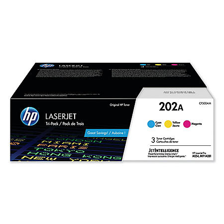 HP 202A, 3-Pack Cyan/Magenta/Yellow Original LaserJet Toner Cartridges