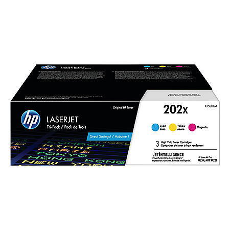HP 202X, 3-Pack High Yield Cyan/Magenta/Yellow Original LaserJet Toner Cartridges
