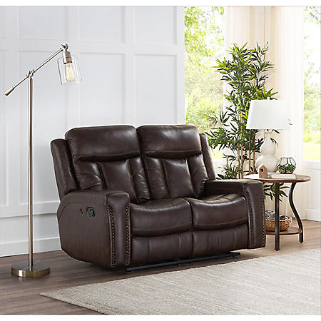 Standage Leather Match Motion Loveseat