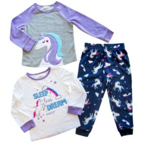 Member's Mark Girl's 3-Piece Fleece Pajama Set (Various Styles)