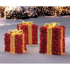 Member's Mark 3-Piece Pre-Lit Twinkling Presents (Red)