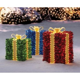 Member's Mark 3-Piece Pre-Lit Twinkling Presents (Multicolor)