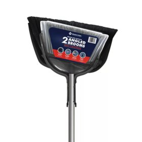 Member's Mark Commercial Indoor & Outdoor 2x Angle Brooms with 2x Dustpans