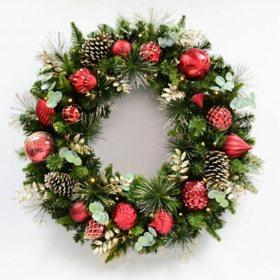 "Member's Mark 39"" Pre-Lit Decorative Red Wreath"