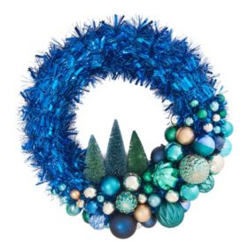 "Member's Mark 24"" Shatterproof Ornament Tinsel Blue Wreath"