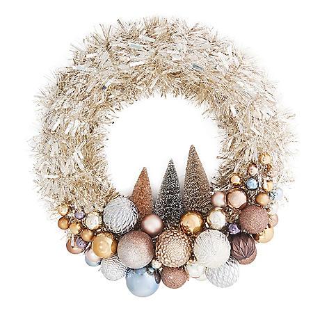 """Member's Mark 24"""" Shatterproof Ornament Tinsel White Wreath"""