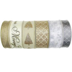 Member's Mark Premium Wired Holiday Ribbon (Metallics)