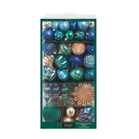 Member's Mark 76 ct. Shatterproof Ornament Collection Northern Lights