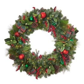 "Member's Mark 48"" Pre-lit Decorated Wreath"