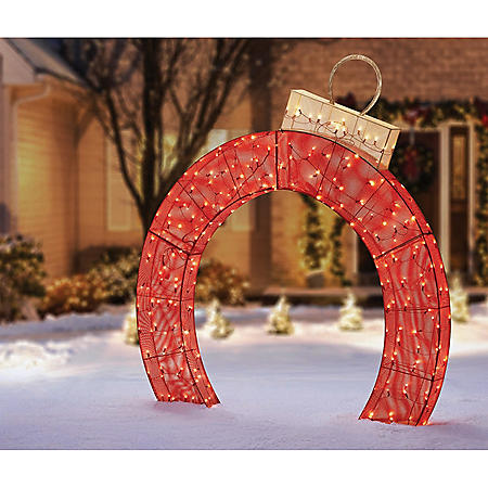 Member's Mark 5' Pre-Lit Twinkling Ornament Arch (Red/Champagne)
