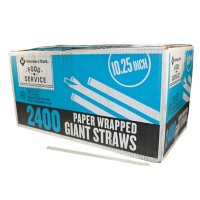 """WinCup Giant 10.25"""" Paper Wrapped Straws, Translucent (2,400 ct.)"""