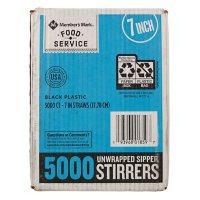 "WinCup 7"" Sipper Stirrers, Black (5,000 ct.)"