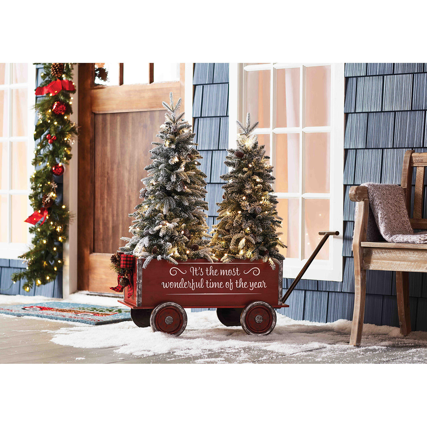 Member's Mark Vintage Wagon and Trees (Flocked)
