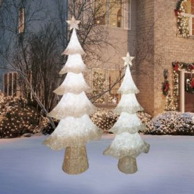 Member's Mark Set of 2 LED Twinkling Glittering Thread Trees