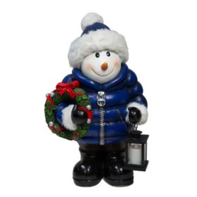 Member's Mark Snowman with Fur and LED Lantern
