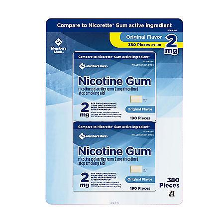 Member's Mark 2 mg Nicotine Polacrilex Gum, Uncoated Original Flavor (380 ct.)