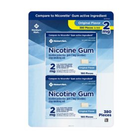 Member's Mark 2 mg Nicotine Polacrilex Gum, Uncoated Original Flavor (380 ct.)